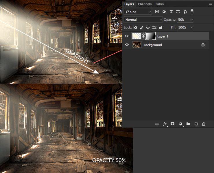 Sun light effect. Ambient light Photoshop tutorial