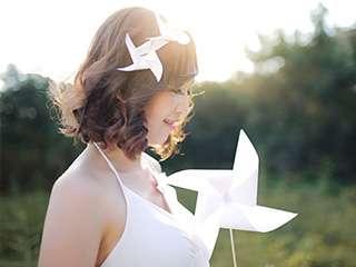 夏日的白色风车 清新优雅人像作品