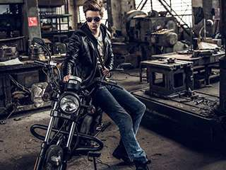 帅气机车人像 摩托车手