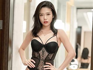 甜美女神李凯诗黑色内衣人像摄影作品[54P]