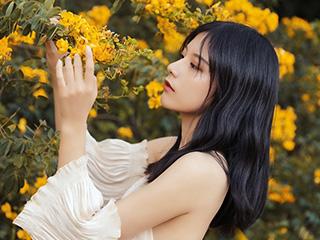 秋の温度美女人像摄影作品
