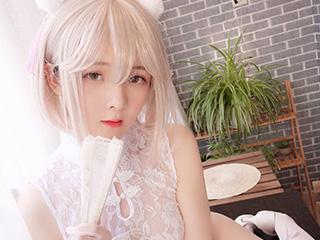 一小央泽白色旗袍COSPLAY家养小白猫写
