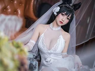 鬼畜瑶COSPLAY爱宕花嫁婚纱摄影写真[23P]