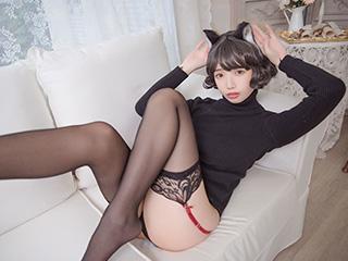 动漫博主雯妹COSPLAY黑猫内衣美女图片[31P]