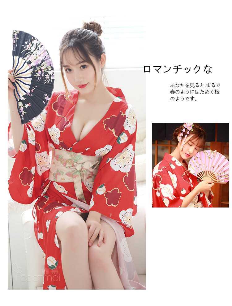 日系COSPLAY经典喜庆印花羽织少女和服