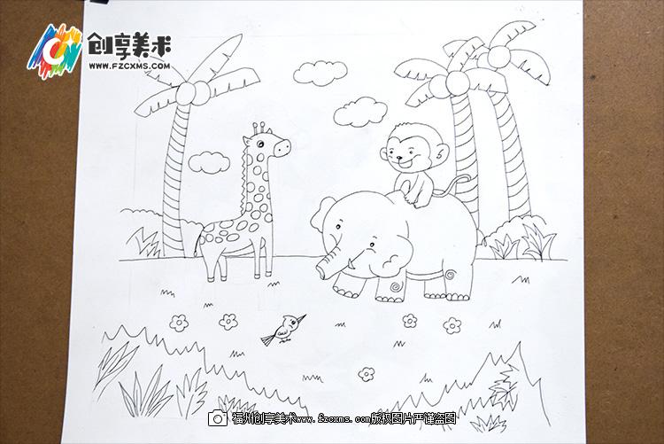《森林中的小动物》水彩笔步骤教程