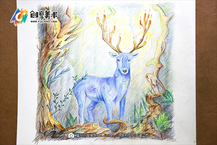 彩色铅笔水彩画《森之鹿》手绘教程